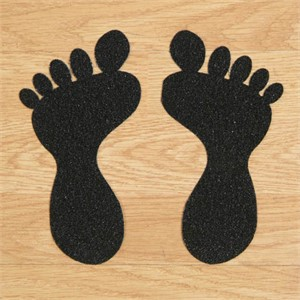 SS#100 Standard Anti Slip Foot Print Stickers Black 5 Pairs (Small)