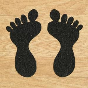 SS#100 Standard Anti Slip Foot Print Stickers Black 5 Pairs (Large)