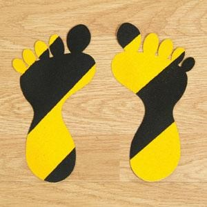 SS#100 Standard Anti Slip Foot Print Stickers Hazard Black / Yellow 5 Pairs (Large)