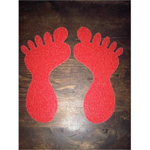 SS#100 Standard Anti Slip Foot Print Stickers Red 5 Pairs (Large)