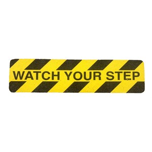 "Self Adhesive ""Watch Your Step"" Anti Slip Stair Tread 150MM X 610MM"