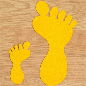 SS#100 Standard Anti Slip Foot Print Stickers Yellow 5 Pairs (Small)