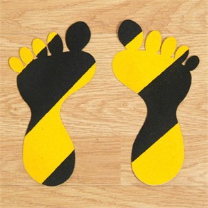 SS#100 Standard Anti Slip Foot Print Stickers Hazard Black / Yellow 5 Pairs (Small)